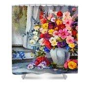 Monet Floral Edged Shower Curtain