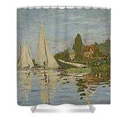 Monet Regattas At Argenteuil 1872 Shower Curtain