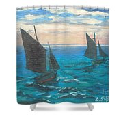Monet's Boats Leaving The Harbor Shower Curtain