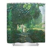 Monets Garden Oil On Board Shower Curtain