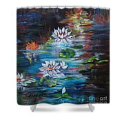 Monet's Pond With Lotus 11 Shower Curtain
