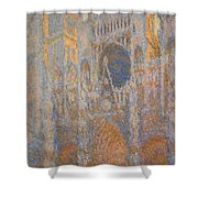 Monet's Rouen Cathedral -- West Facade Shower Curtain