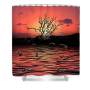 Money Tree Sunset Shower Curtain