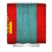 Mongolia Flag Vintage Distressed Finish Shower Curtain