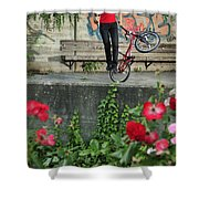 Monika Hinz Doing Elegant Bmx Flatland Trick Shower Curtain
