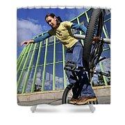 Monika Hinz Riding Bmx Flatland Shower Curtain