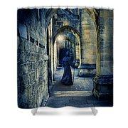 Monk In A Dark Corridor Shower Curtain