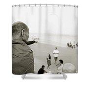 Monk In Vientiane Shower Curtain