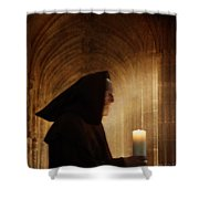 Monk With Candle In Cathedral Shower Curtain