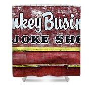 Monkey Business A Joke Shop Shower Curtain
