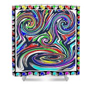 Monkey Dance Created Out Of Beads Of The Border Creative Digital Graphic Work Cartoon Comedy Backgro Shower Curtain