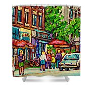 Monkland Tavern Corner Old Orchard Montreal Street Scene Painting Shower Curtain