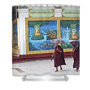 Monks In Rain At Shwedagon Paya Temple Yangon Myanmar Shower Curtain
