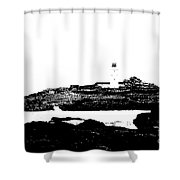 Monochromatic Godrevy Island And Lighthouse Shower Curtain