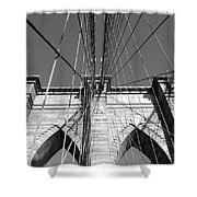 Monochromatic View Of Brooklyn Bridge Shower Curtain
