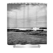 Monochrome Tides Shower Curtain