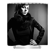 Monochrome Woman Shower Curtain