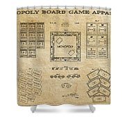 Monopoly Board Game Aged Patent Art  1935 Shower Curtain by Daniel Hagerman