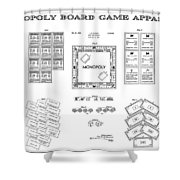 Monopoly Board Game Patent Art  1935 Shower Curtain by Daniel Hagerman