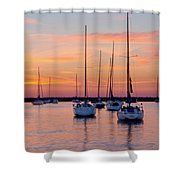 Monroe Harbor Sunrise Shower Curtain