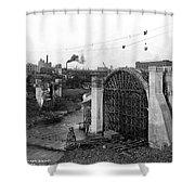 Monroe St Bridge Construction 1910 Shower Curtain