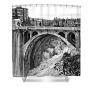 Monroe Street Bridge Iced Over - Spokane Washington Shower Curtain by Daniel Hagerman