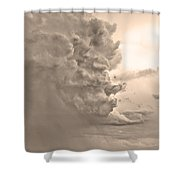 Monster Cloud Sepia Country Shower Curtain