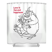 Monster Valentine Shower Curtain
