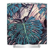 Monstera Blues Shower Curtain