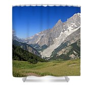 mont Blanc from Ferret valley Shower Curtain