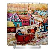Mont St.hilaire Going Towards The Village Quebec Winter Landscape Paintings Carole Spandau Shower Curtain