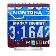 Montana License Plate Map Shower Curtain