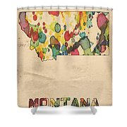 Montana Map Vintage Watercolor Shower Curtain