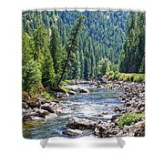 Montana River And Trees Shower Curtain