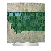 Montana Word Art State Map On Canvas Shower Curtain