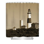 Montauk Point Light In Sepia Shower Curtain