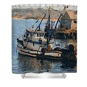 Monterey Fish Company Abstract Shower Curtain