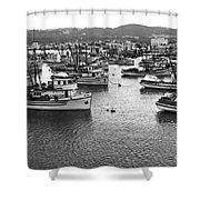 Monterey Harbor Full Of Purse-seiner Fishing Boats California 1945 Shower Curtain