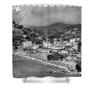 Monterosso Al Mare - Cinque Terre In Grey Shower Curtain
