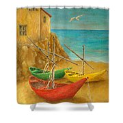 Monterosso On Riviera Di Levante Shower Curtain