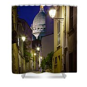 Montmartre Street And Sacre Coeur Shower Curtain