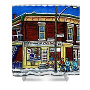 Montreal Art Hockey Paintings Chez Bert Depanneur The Pointe Verdun City Scene Carole Spandau  Shower Curtain
