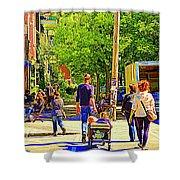 Montreal Art Summer Cafe Scene Rue Laurier Family Day Wagon Ride City Scene Art By Carole Spandau Shower Curtain