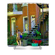 Montreal Art Summer Stroll By Blue Winding Staircase Verdun Homes Balcony Scene Carole Spandau Shower Curtain