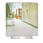 Montreal Art Urban Winter City Scene Painting Verdun Laneway After  Heavy December Snowfall Shower Curtain