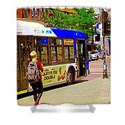 Montreal Bus Scenes Catching The 97 Bus Pontiac Corner Mont Royal Urban Montreal Art Carole Spandau Shower Curtain