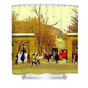 Montreal Memories Mcgill Students On Campus Roddick Gates Montreal Collectible Art Prints C Spandau Shower Curtain
