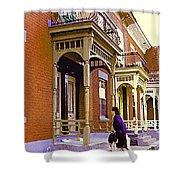 Montreal Memories Pretty Plateau Porches Lady Climbs Front Steps By Bricks Balconies Home Cspandau   Shower Curtain