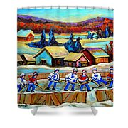 Montreal Memories Rink Hockey In The Country Hockey Our National Pastime Carole Spandau Paintings Shower Curtain