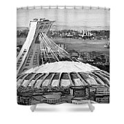 Montreal Olympic Stadium And Olympic Park-home To Biodome And Velodrome-montreal In Black And White Shower Curtain